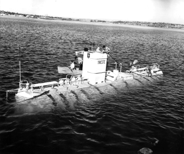 Bathyscaphe Trieste off the coast of Italy, circa 1955.