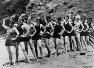 Women in their swimming costumes, on the beach at Lindeman Island, Queensland, Christmas 1928