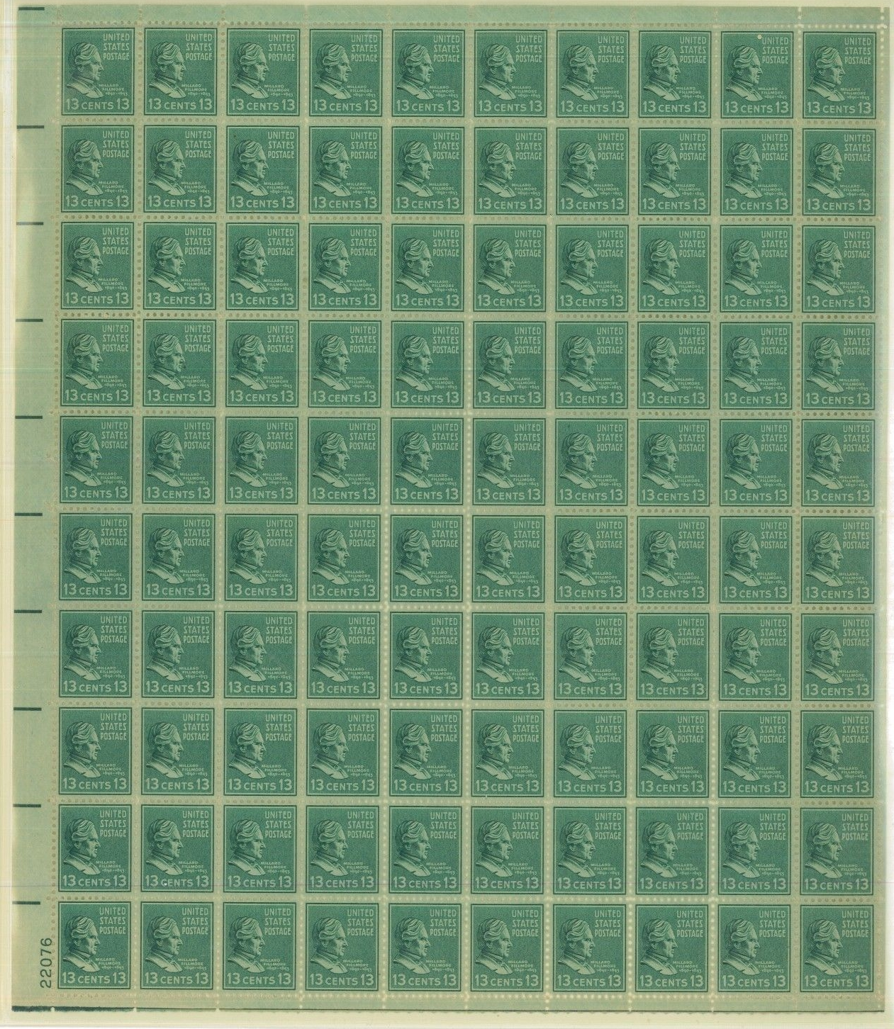 United States - Scott #818 (1938) full pane of 100