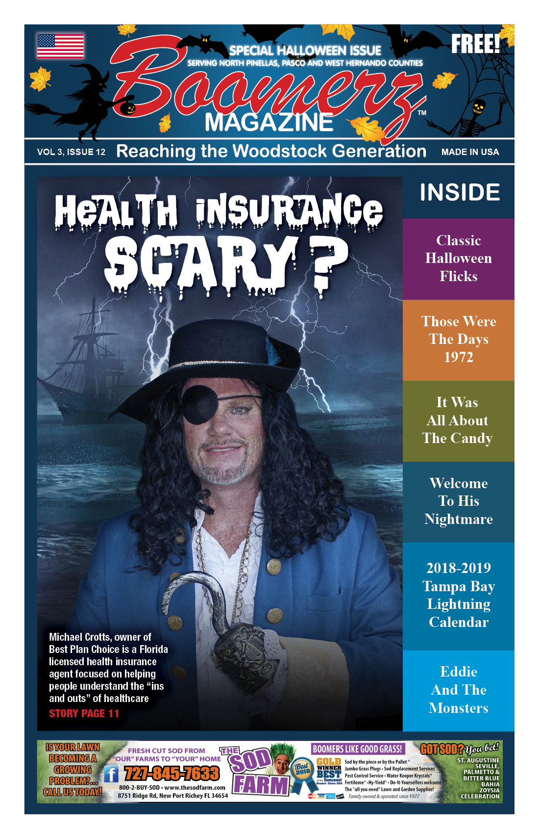 Boomer Magazine 2018 October Halloween Issue Cover Page