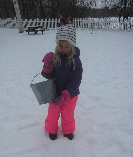 a bucket of snow