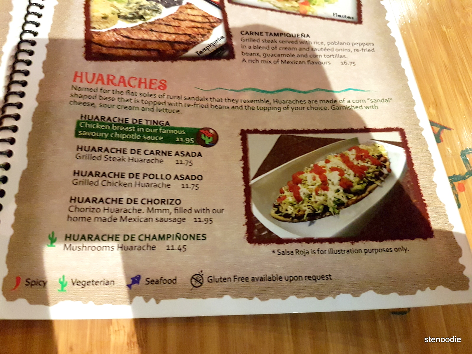 La Taquizza huaraches menu