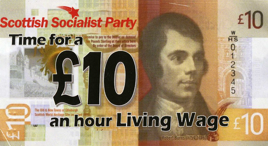 Scottish Socialist Party Living Wage leaflet, October 2018