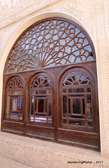 Stained glass windows from the outside - Tabatabae Historical House (1834) - Kashan Iran