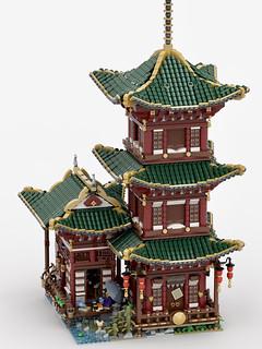 東洋味濃厚的建築風格真的美翻天! lafornia 樂高MOC 作品【隱士的神廟】Temple of Hermit