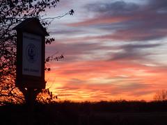 Sunset sky Hedon Town sign