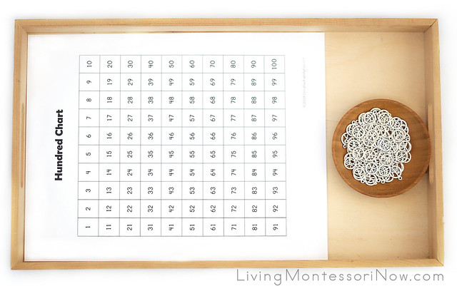 Hundred Chart with 100 Silver Peace Symbol Charms for Counting to 100 and Skip Counting