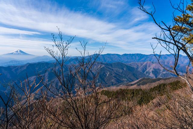 富士と大菩薩嶺、、手前に奈良倉山