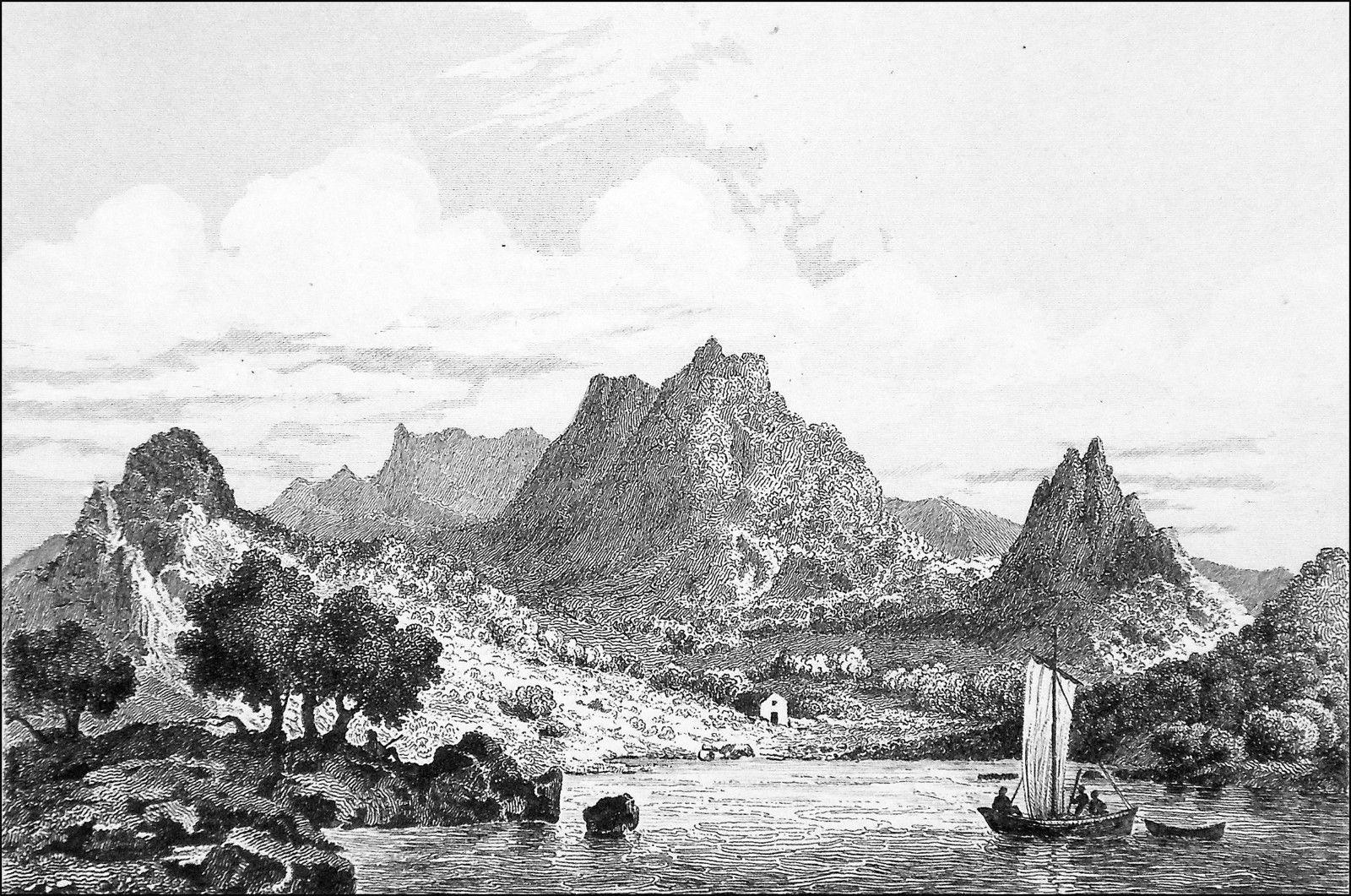 A 19th century engraving of Juan Fernández Island.