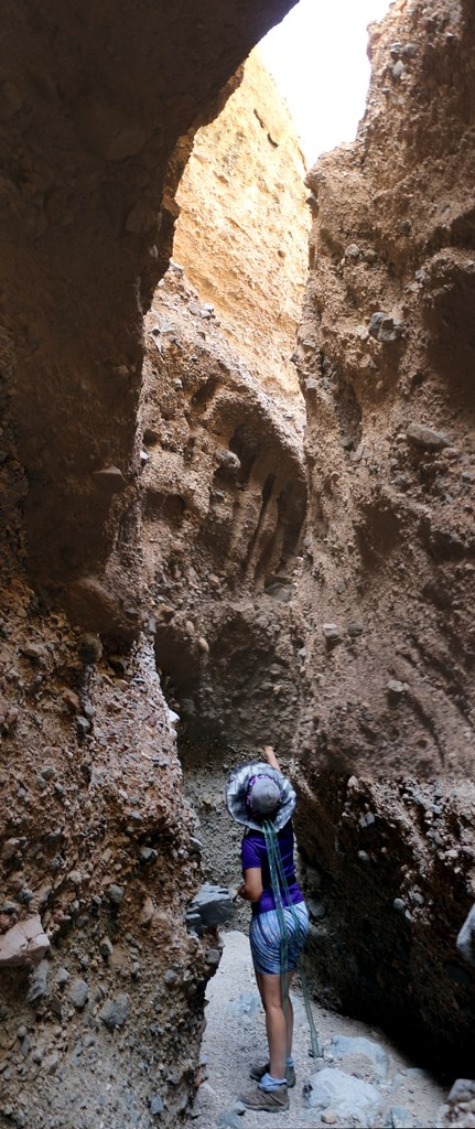 Vertical panorama as we hike into Slot Canyon Three in Sidewinder Canyon