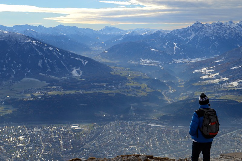 This is a picture of views over Innsbruck taken from Seegrube