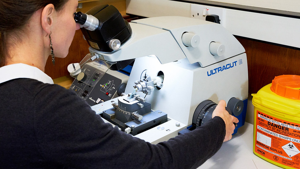 A researcher using the equipment