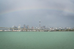 314.364.2018 Auckland skyline under rainbow from Auckland Harbour, New Zealand