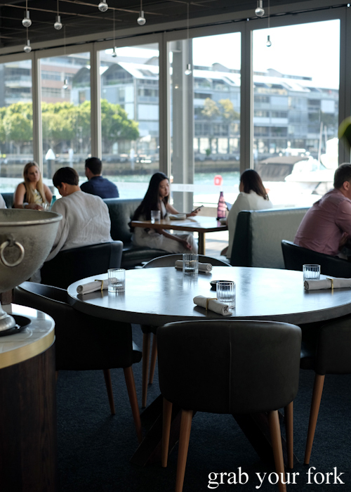 Dining room with water views at LuMi restaurant in Pyrmont Sydney