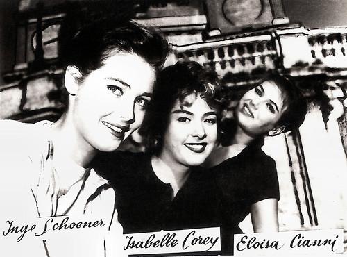 Ingeborg Schöner, Isabelle Corey and Eloisa Cianni in Adorabili e bugiarde (1958)