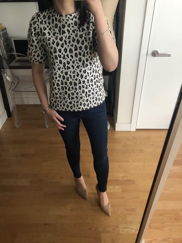 LOFT Leopard Print Knit Puff Sleeve Top, size XXS regular