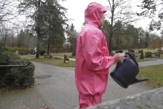 pink PVC raingear, Panasonic DMC-SZ10