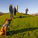 Archie the boxer puppy with some of his family at Binns Tower, near Linlithgow, West Lothian, Scotland