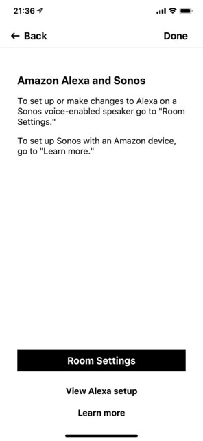 Sonos iOS App - Settings - Voice Services - Amazon Alexa - After Setup Done