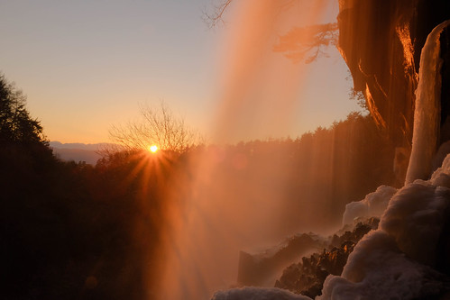 Winter Waterfall with Sunset【Explore】