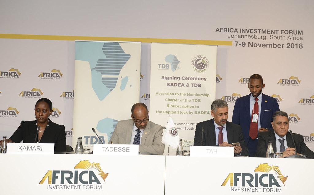 African Investment Forum - BADEA in Africa signs membership and subscription agreement with TDB