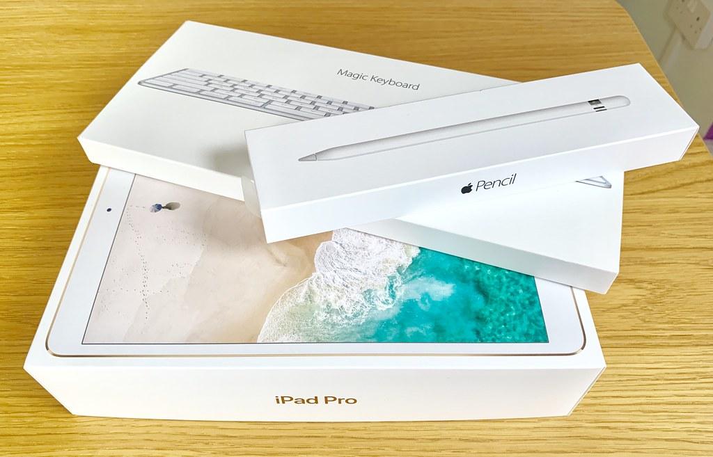 "Boxed iPad Pro 10.5"", Apple Pencil, and Magic Keyboard"