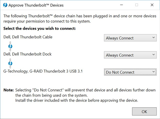 Approve Thunderbolt Devices dialog