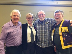 From the left, Westport Lion Bob Reddick, Zone Chair Sue Tunnicliffe, District Coordinator  for LCIF Jim Devenny, and President Wayne Bent attended a recent zone meeting in Gananoque.