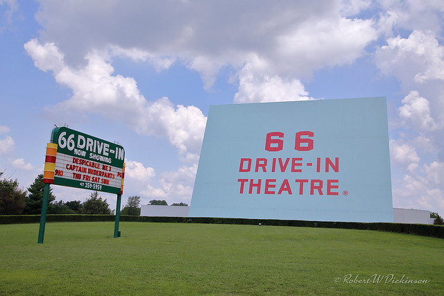 Wide View of Route 66 Drive-In Theatre on Route 66 Between Carterville and Carthage, Missouri