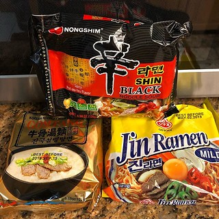 Low effort ramen at home tonight. Everyone has a different flavor / spice level preference! Someday I'm going to plan this out better so we have a full range of toppings #ramen #instantramen #fastdinner | by Coach Ota