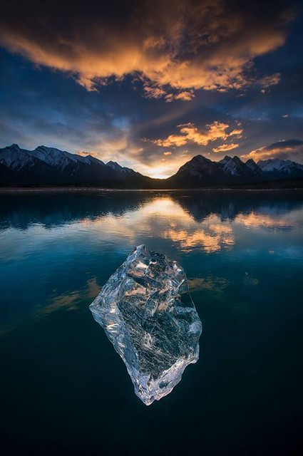 Home!! So good to be back in the mountains. A sparkling ice diamond from Abraham Lake. :-)