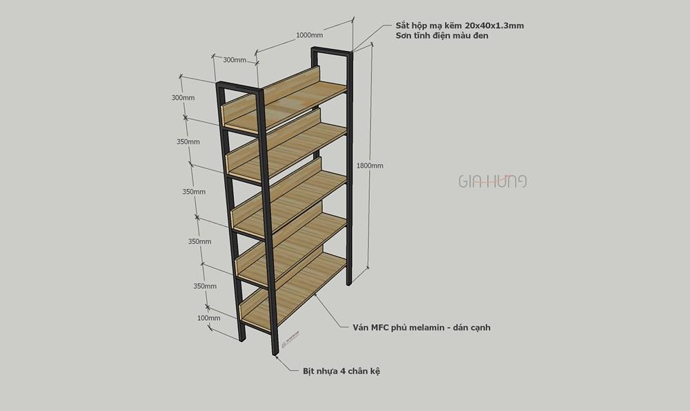 Thông số kích thước kệ trang trí khung chân sắt mặt gỗ GHK-305