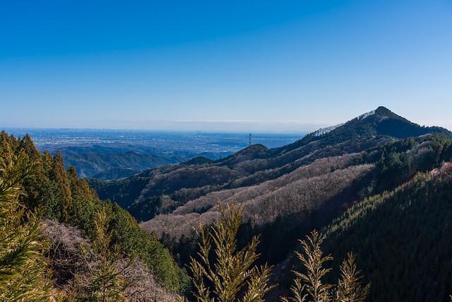 麻生山の左に都心の展望