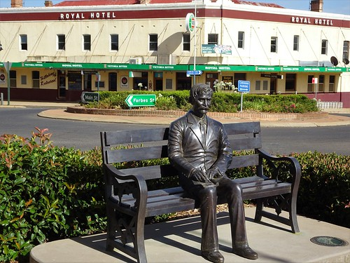 Grenfell. A statue of Henry Lawson the writer who was born in Grenfell during the gold rush times.