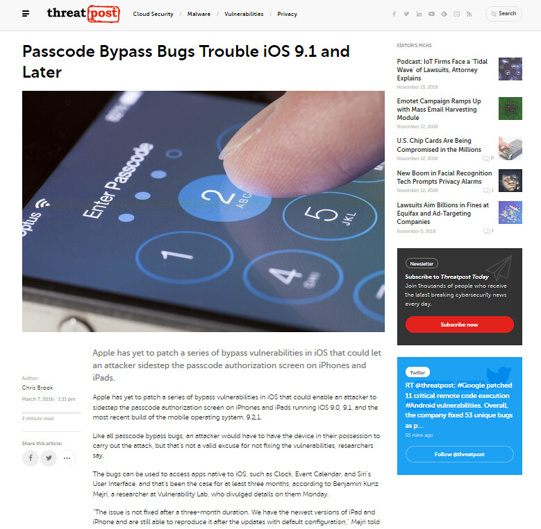 Threatpost Kaspersky 2016 - iOS Passcode Bypass 0Day
