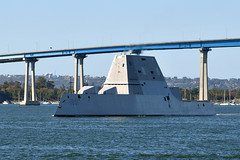 The future USS Michael Monsoor (DDG 1001) cruises under the Coronado Bridge as it arrives at its San Diego homeport for the first time, Dec. 7, 2018. (U.S. Navy/MC1 Jacob I. Allison)