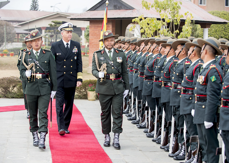 Adm. Phil Davidson participates in an honors ceremony at the Nepali army headquarters.
