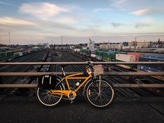 The bad news was the elevator at the Lafayette Pedestrian Bridge was out.  The good news is the Holgate Viaduct has a good view of the Brooklyn Yard (and the sunset!) :blush: