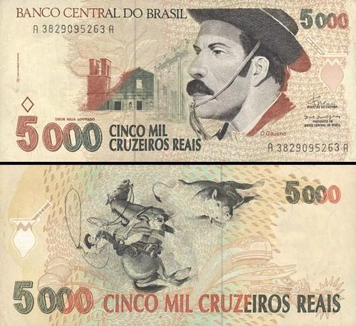 5000 cruzeiros reias Brazília 1993, P241