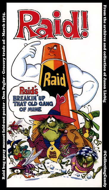 Raid bug spray mascot fold-out poster - Old Gang - Don Pegler - Progressive Grocer March 1974