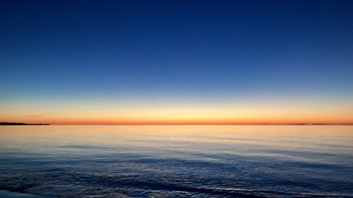 blue orange water sunrise horizontal
