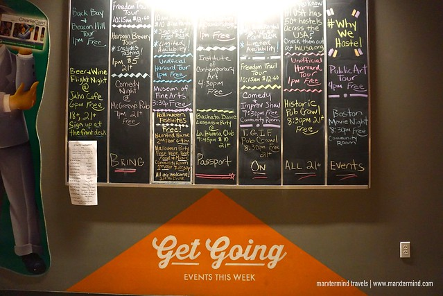 HI Boston Hostel Tour and Events Board