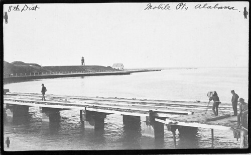 Mobile Point Lighthouse from pier 1893