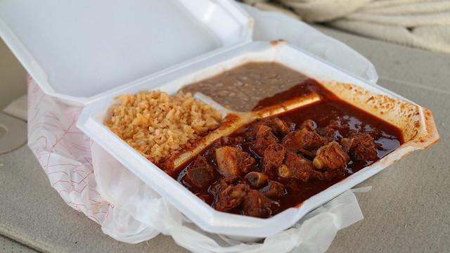 Asado de Puerco stewed pork from Tortillería Luna in Des Moines, Iowa