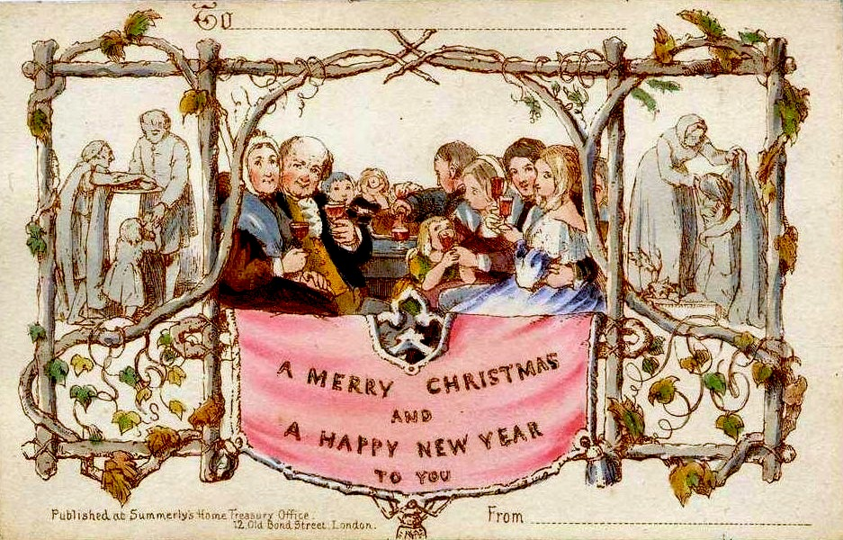 The world's first commercially produced Christmas card, designed by John Callcott Horsley for Henry Cole in 1843.