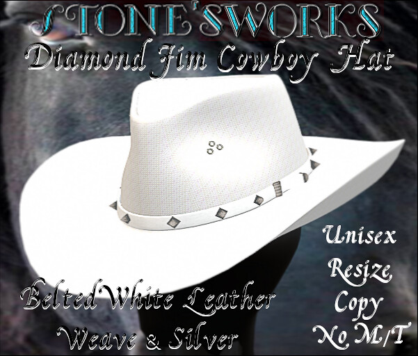 Diamond Jim Belted Wht Leather Silver Stone's Works