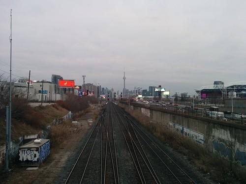 Toronto skyline from Dufferin Gate #toronto #skyline #winter #dufferingate #gardinerexpressway