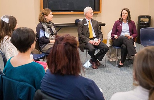 We were excited to have 2002 grad Beth Lenherr back on campus today! After speaking at the Washburn University Alumni Association and Foundation's Wake Up with Washburn event this morning she took some time to talk with students, faculty and staff in the