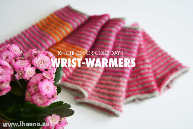 Pink and orange wrist warmers
