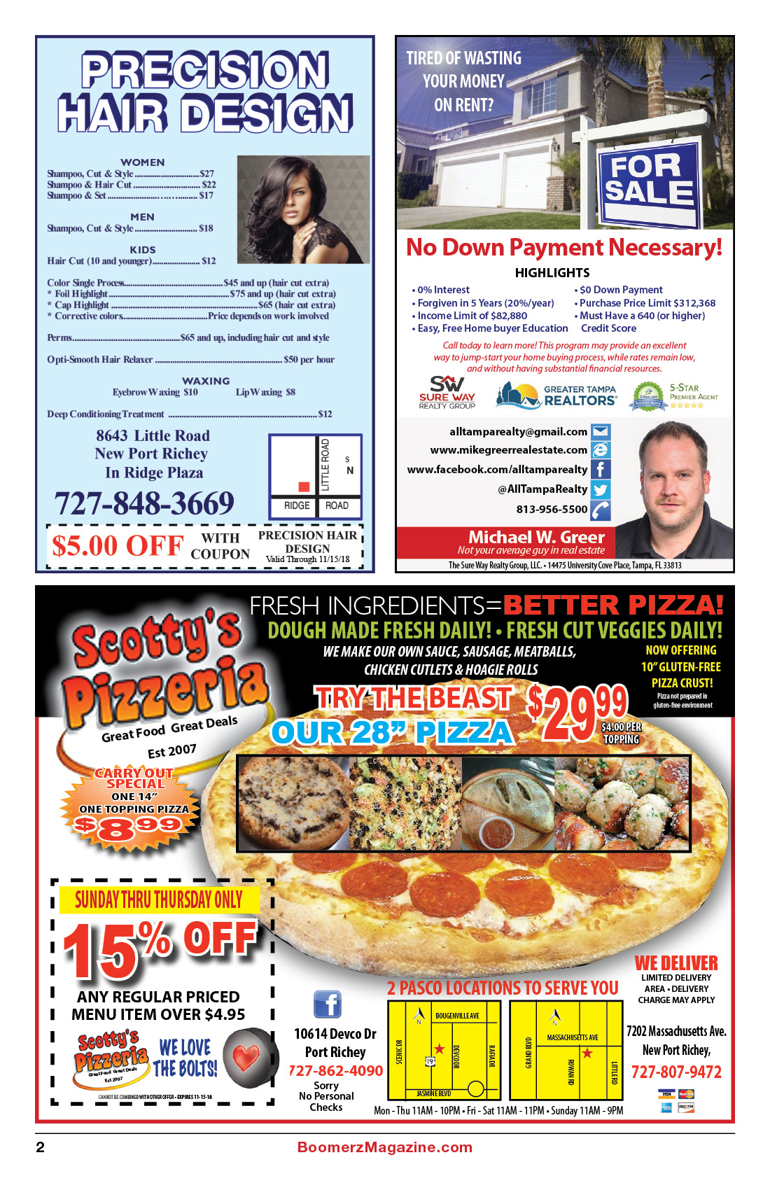 Boomerz Magazine Page 02 Scotty's Pizzeria